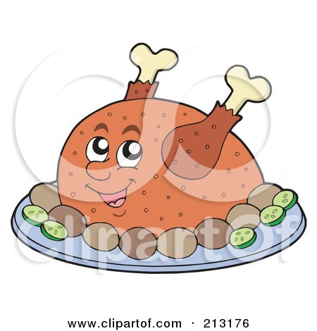 Royalty-Free (RF) Clipart Illustration of a Roasted Turkey by visekart
