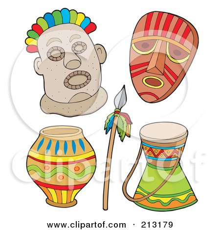 Royalty-Free (RF) Clipart Illustration of a Digital Collage Of Tribal Masks And Items by visekart