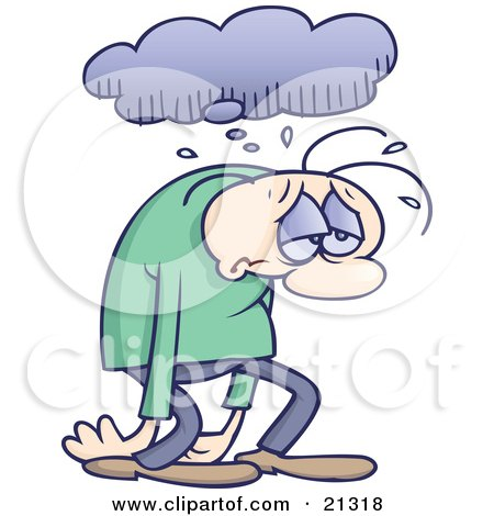 Clipart Illustration of a Sad And Depressed Gloomy Man Sulking And Walking Under A Rain Cloud by gnurf