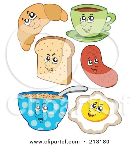 Royalty-Free (RF) Clipart Illustration of a Digital Collage Of Breakfast Foods by visekart