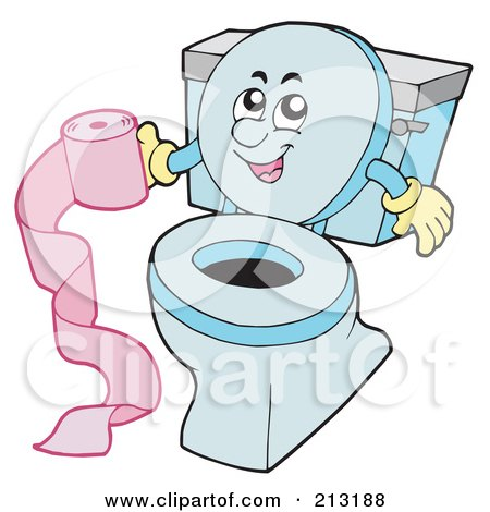 Royalty-Free (RF) Clipart Illustration of a Happy Toilet Holding Pink Toilet Paper by visekart