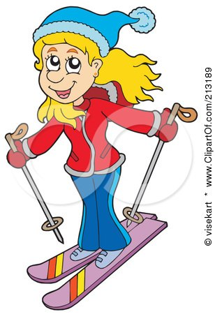 Clipart of a Girl with Skis on a Mountain - Royalty Free Vector ...