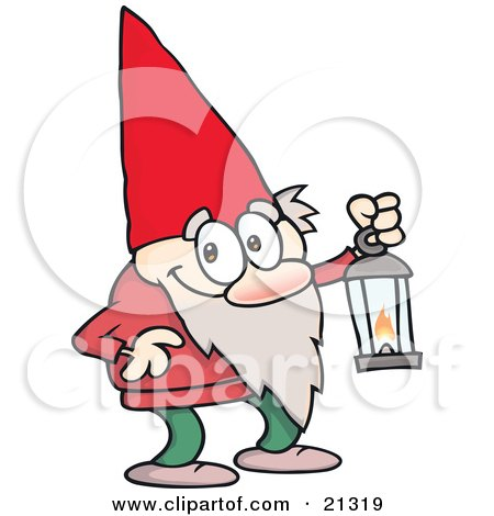 Clipart Illustration of a Cute Little Gnome Man In A Red Hat, Carrying A Lantern by gnurf