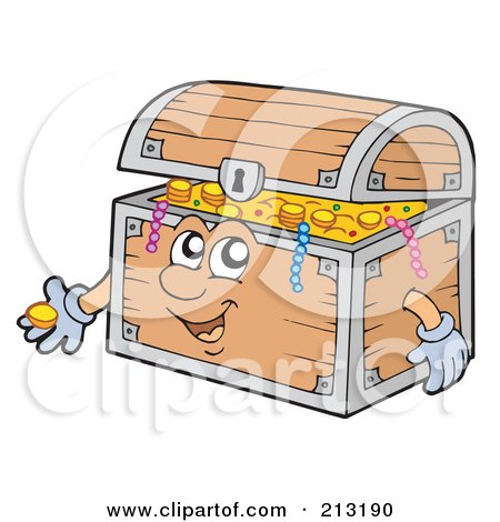 Royalty-Free (RF) Clipart Illustration of a Friendly Treasure Chest by visekart