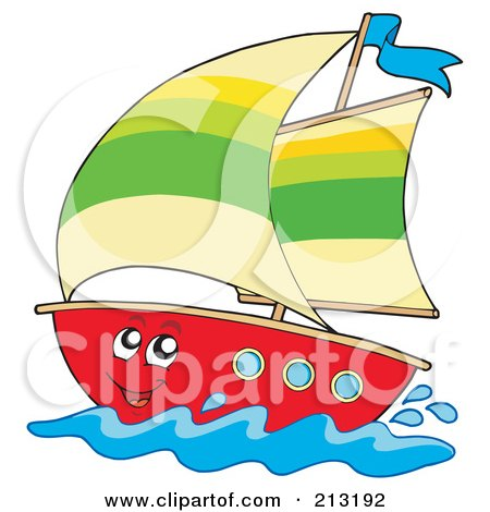 Royalty-Free (RF) Clipart Illustration of a Happy Sailboat Character by visekart