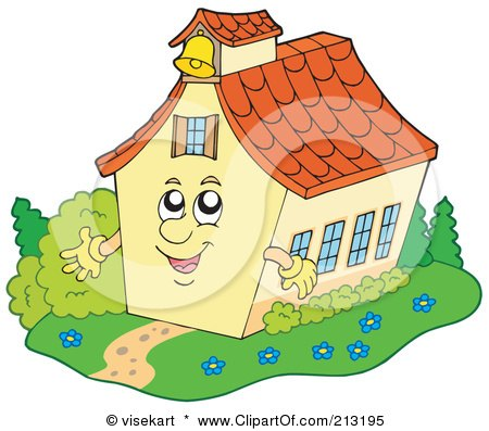 Royalty-Free (RF) Clipart Illustration of a Happy School House Waving by visekart