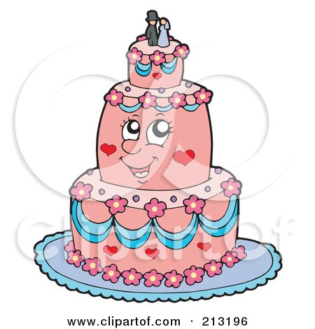 Royalty-Free (RF) Clipart Illustration of a Happy Pink Wedding Cake by visekart