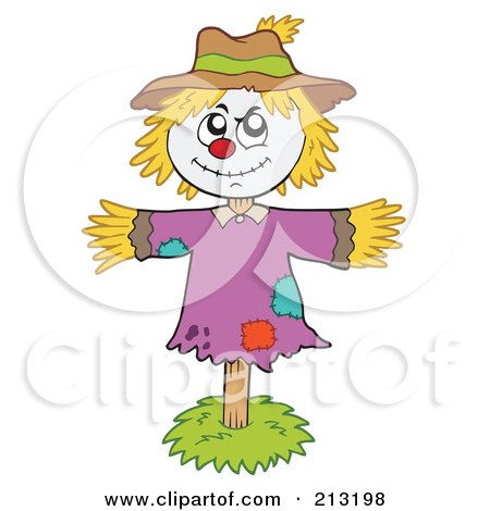 Royalty-Free (RF) Clipart Illustration of a Smiling Scarecrow On A Stick by visekart