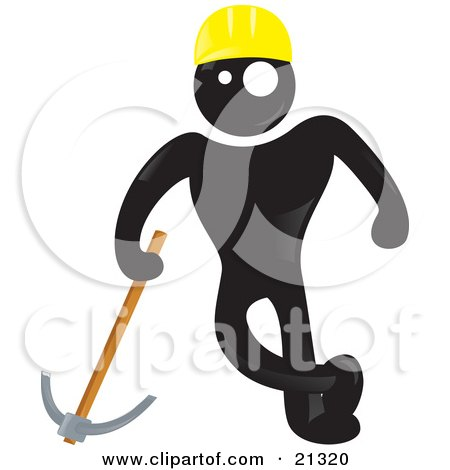 Clipart Illustration of a Blackman Character In A Yellow Hardhat, Leading On A Pickaxe At A Construction Site by Paulo Resende