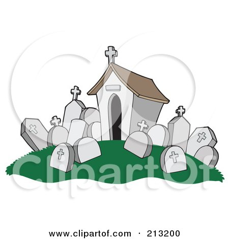 Royalty-Free (RF) Clipart Illustration of a Tomb And Headstones In A Cemetery by visekart
