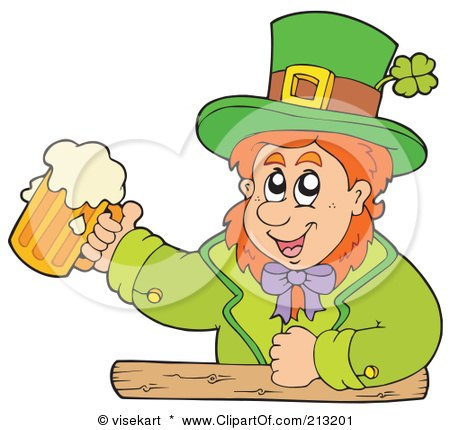 Royalty-Free (RF) Clipart Illustration of a Happy Leprechaun At A Bar, Holding Up A Beer by visekart