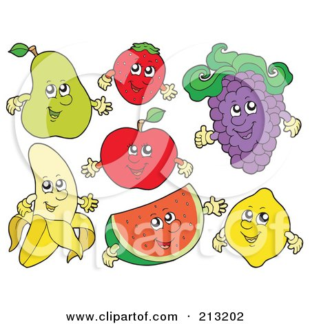 Royalty-Free (RF) Clipart Illustration of a Digital Collage Of Fruit Characters - 2 by visekart