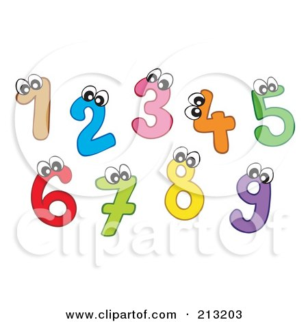 Royalty-Free (RF) Clipart Illustration of a Digital Collage Of Colorful Number Characters by visekart
