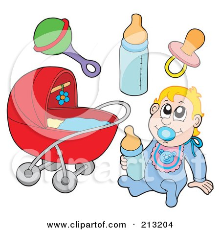 Royalty-Free (RF) Clipart Illustration of a Digital Collage Of A Baby And Items by visekart