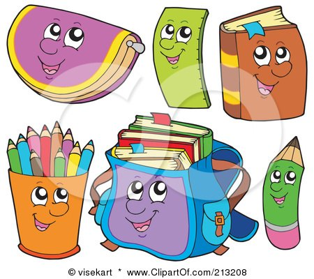 Royalty-Free (RF) Clipart Illustration of a Digital Collage Of School Item Characters by visekart