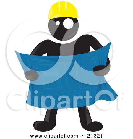Clipart Illustration of a Blackman Character Wearing A Hardhat And Reviewing Blueprints At A Construction Site by Paulo Resende