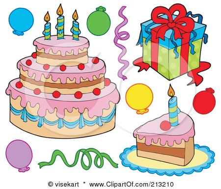 Royalty-Free (RF) Clipart Illustration of a Digital Collage Of Birthday Items - 1 by visekart