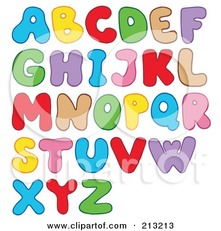 Royalty-Free (RF) Clipart Illustration of a Digital Collage Of Colorful Bubbly Letters by visekart