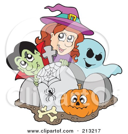 Royalty-Free (RF) Clipart Illustration of a Halloween Vampire, Witch And Ghost With A Pumpkin By Tombstones by visekart