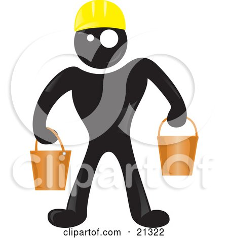 Clipart Illustration of a Blackman Character Wearing A Yellow Hardhat And Carrying Two Pails by Paulo Resende