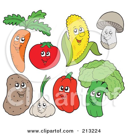 Royalty-Free (RF) Clipart Illustration of a Digital Collage Of Vegetable Characters by visekart