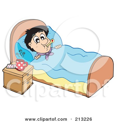 Royalty-Free (RF) Clipart Illustration of a Sick Man At Rest In His Bed by visekart