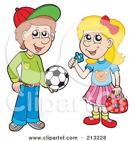 Royalty-Free (RF) Clipart Illustration of a Digital Collage Of A Soccer Boy And Little Girl With A Flower by visekart