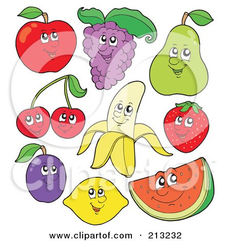 Royalty-Free (RF) Clipart Illustration of a Digital Collage Of Fruit Characters - 1 by visekart