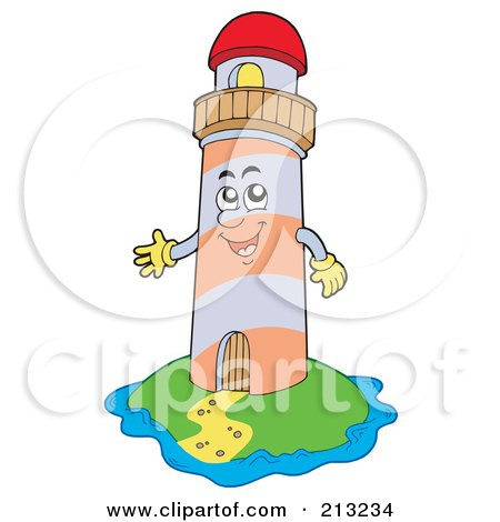 Royalty-Free (RF) Clipart Illustration of a Happy Lighthouse On An Island by visekart