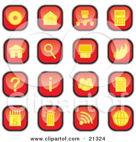 Clipart Illustration of a Collection Of Red And Yellow Square Computer Icon Buttons Of Discs, Email, Information, Trash And Garbage by Paulo Resende