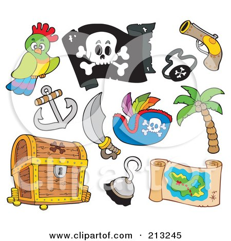 Royalty-Free (RF) Clipart Illustration of a Digital Collage Of Pirate Items by visekart