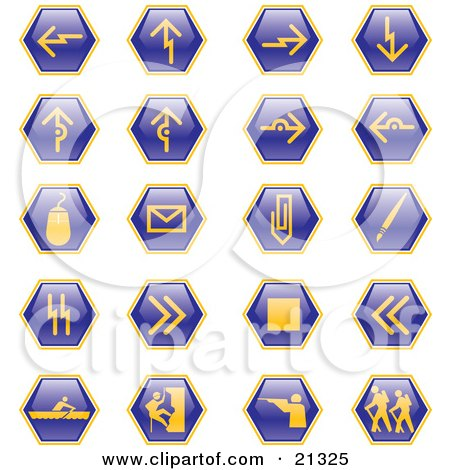 Clipart Illustration of a Collection of Blue Hiking, Hunting, Climbing, Rowing, And Computer Web Design Icons On A White Background by Paulo Resende