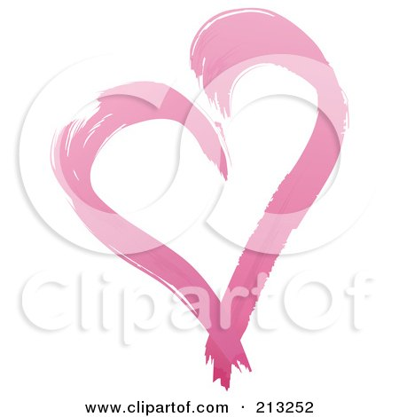 Royalty-Free (RF) Clipart Illustration of a Painted Pink Heart by dero