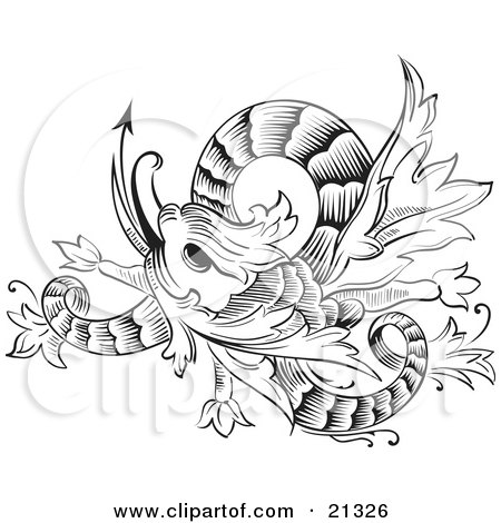 Royalty-free fantasy clipart picture of a black and white twisting chinese