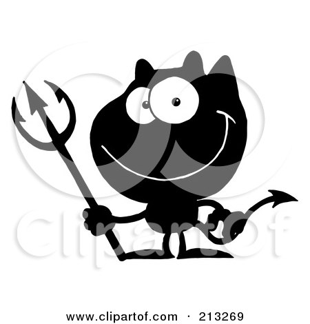 Royalty-Free (RF) Clipart Illustration of a Black And White Grinning Devil by Hit Toon