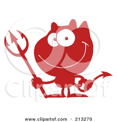 Royalty-Free (RF) Clipart Illustration of a Red And White Grinning Devil by Hit Toon