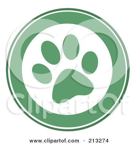 Royalty-Free (RF) Clipart Illustration of a Green Dog Paw Print by Hit Toon