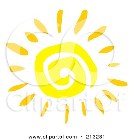 Royalty-Free (RF) Clipart Illustration of a Yellow Painted Style Spiral Sun by Hit Toon