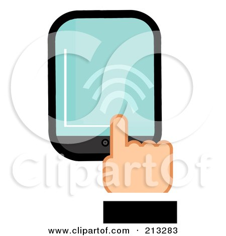 Royalty-Free (RF) Clipart Illustration of a Business Man's Hand Touching A Smart Phone by Hit Toon