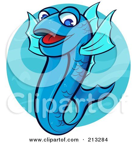 Royalty-Free (RF) Clipart Illustration of a Happy Blue Fish In Water by Paulo Resende