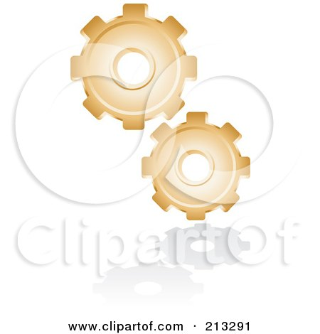 Royalty-Free (RF) Clipart Illustration of a Golden Gear Icon by Alexia Lougiaki
