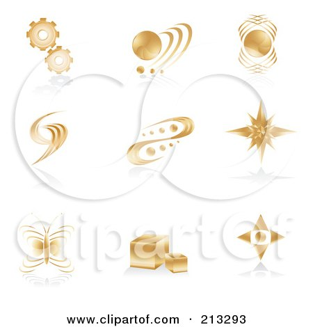 Royalty-Free (RF) Clipart Illustration of a Digital Collage Of Golden Icons Or Logos by Alexia Lougiaki
