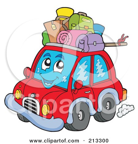 Royalty-Free (RF) Clipart Illustration of a Happy Red Car With Luggage On Top by visekart