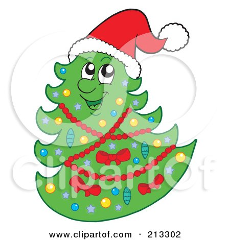 Royalty-Free (RF) Clipart Illustration of a Happy Christmas Tree Wearing A Santa Hat by visekart