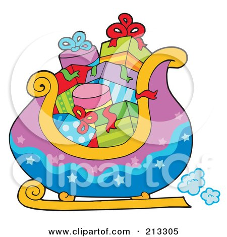 Royalty-Free (RF) Clipart Illustration of a Purple And Blue Santas Sleigh With Gifts, by visekart