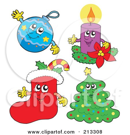 Royalty-Free (RF) Clipart Illustration of a Digital Collage Of Happy Christmas Characters by visekart