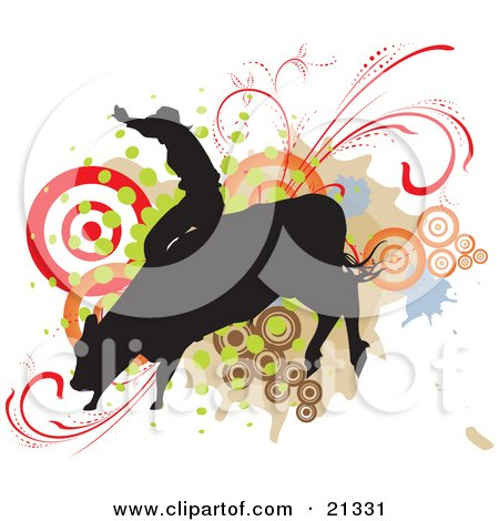 Clipart Illustration of a Silhouetted Cowboy Holding Onto The Back Of A Bucking Rodeo Bull Over A Target And Scroll Background by Paulo Resende