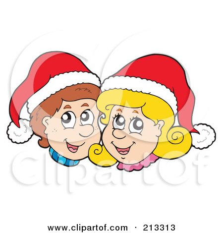 Royalty-Free (RF) Clipart Illustration of a Happy Christmas Boy And Girl Wearing Santa Hats by visekart