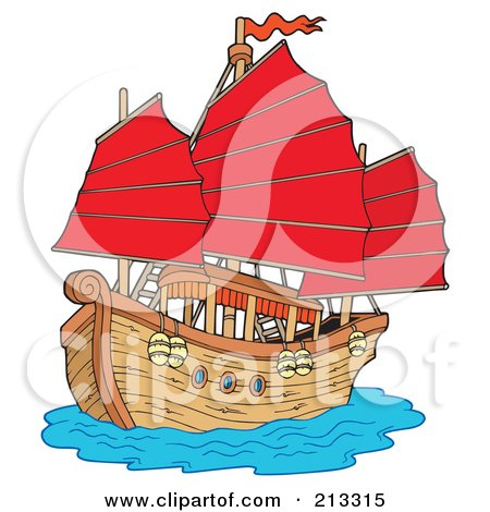 Royalty-Free (RF) Clipart Illustration of a Chinese Ship With Red Sails by visekart