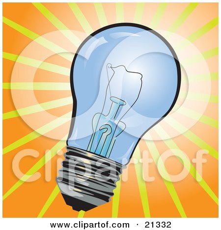 Clipart Illustration of a Clear Glass Electric Lightbulb Over A Bright Orange And Yellow Background by Paulo Resende